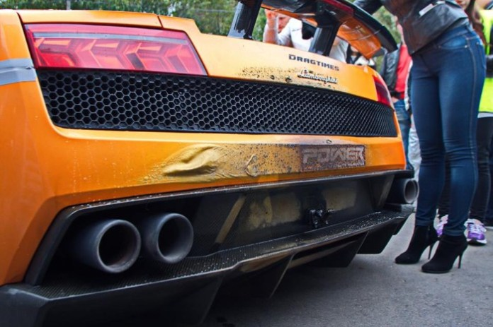 DragTimes Lamborghini Gallardo on fire