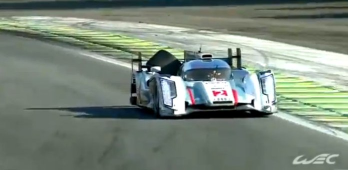 Audi R18 E-tron wheel accident at 2013 Interlagos 6h