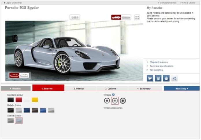 Porsche 918 Configurator