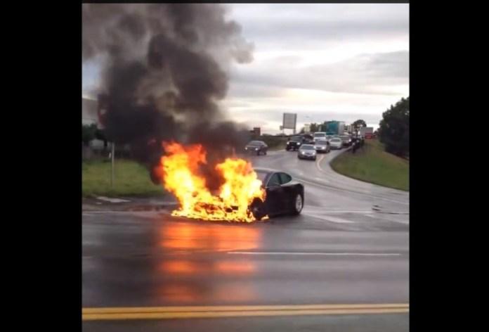 Tesla Model S on fire