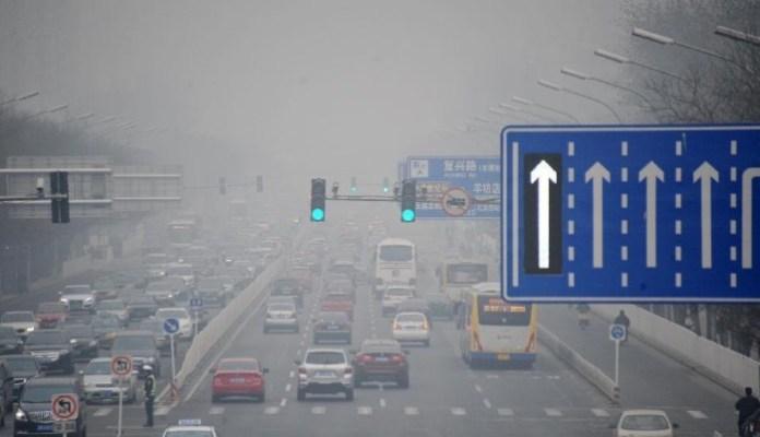 beijing traffic smog