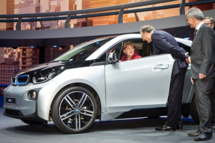 bmw-officially-unveiled-the-all-electric-i3-in-july-then-brought-the-car-to-frankfurt-german-chancellor-angela-merkel-seemed-impressed