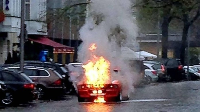 Shelby Mustang GT500 in flames