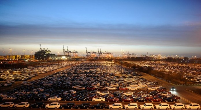 Mercedes cars are pictured at a shipping terminal in the harbour of the German northern town of Bremerhaven.