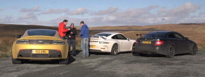 Porsche GT3, Aston Martin V12 Vantage S, Mercedes C63 AMG Black Series