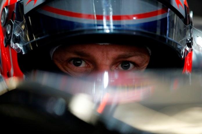 Jenson Button in his cockpit.