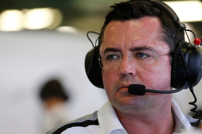 Racing Director Eric Boullier in the garage.