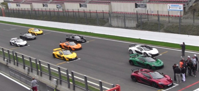 10x Mclaren P1 on Track Action and Sounds!