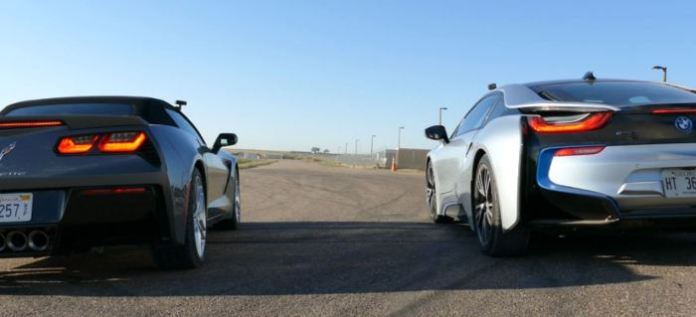 2015 Chevy Corvette Stingray vs BMW i8 Drag Race