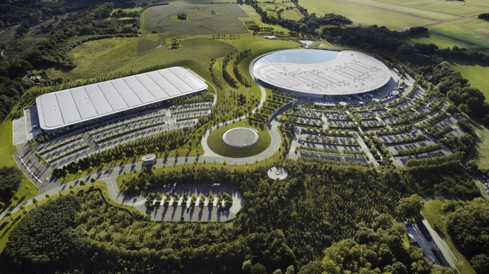 Aerial view of the McLaren Production Centre (left) and McLaren Technology Centre (right)