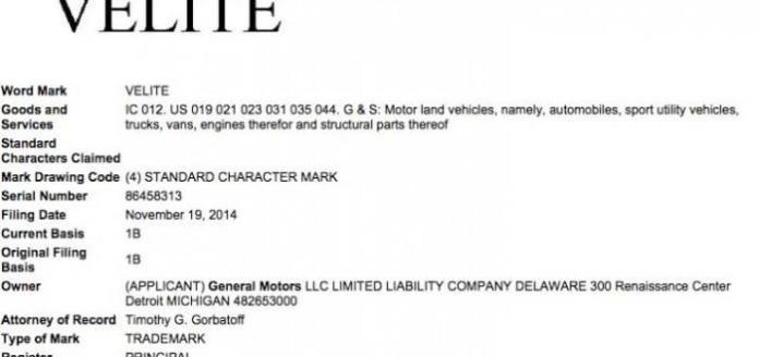 """General Motors """"Velite"""" trademark"""