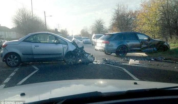 Mitsubishi Colt CZC and David Beckham's Audi RS6 Avant crash
