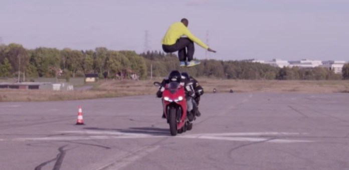 Epic jump over two motorcycles
