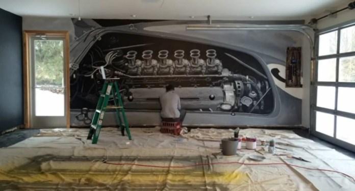 ferrari engine car art