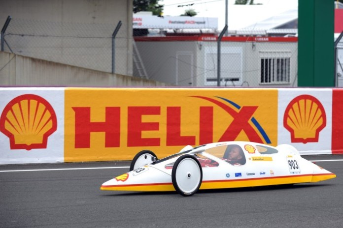 Nick Heidfeld drives a Shell Eco-marathon vehicle on the track at Le Mans 24 Hour