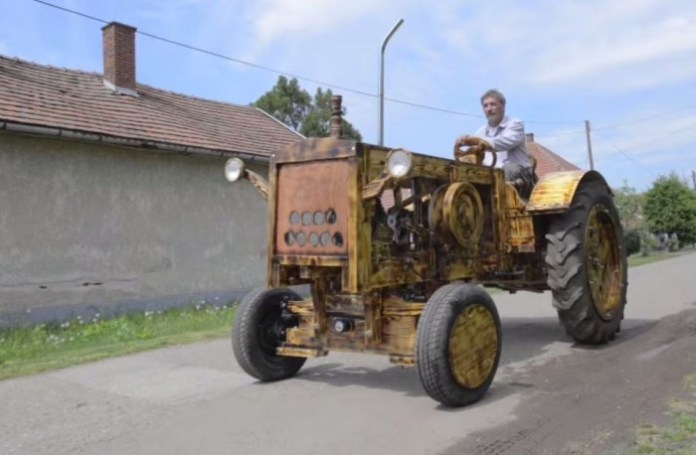 Tractor From Pine Wood