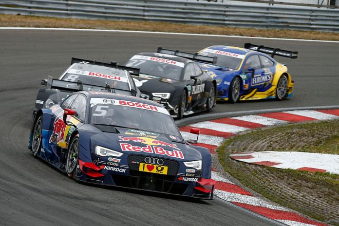 #5 Mattias Ekström, Audi RS5 DTM, #8 Christian Vietoris, Mercedes-AMG C 63 DTM, #27 Adrien Tambay, Audi RS5 DTM, #2 Gary Paffett, Mercedes-AMG C 63 DTM