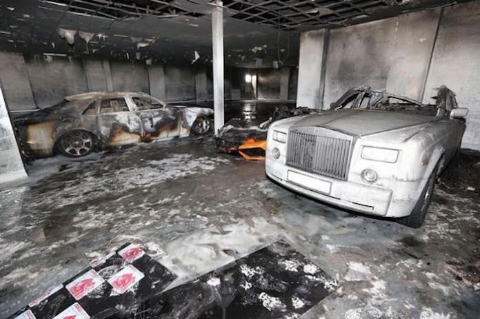 Lamborghini rolls royce fire (1)