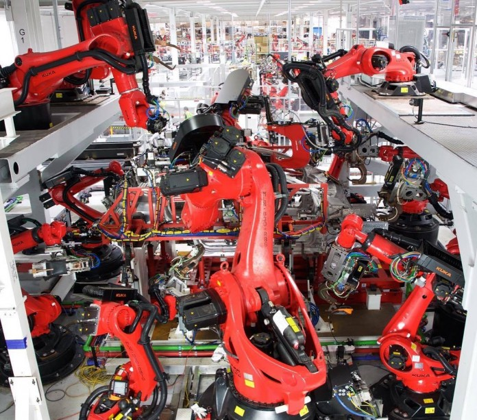 tesla production line