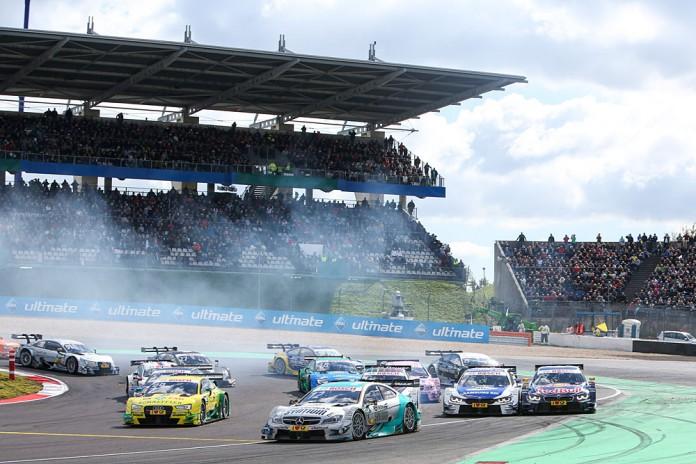 Motorsports: DTM race Nuerburgring, #99 Mike Rockenfeller (GER, Audi Sport Team Phoenix, Audi RS5 DTM), #12 Daniel Juncadella (ESP, Mercedes-AMG DTM Team Muecke, Mercedes-AMG C 63 DTM)