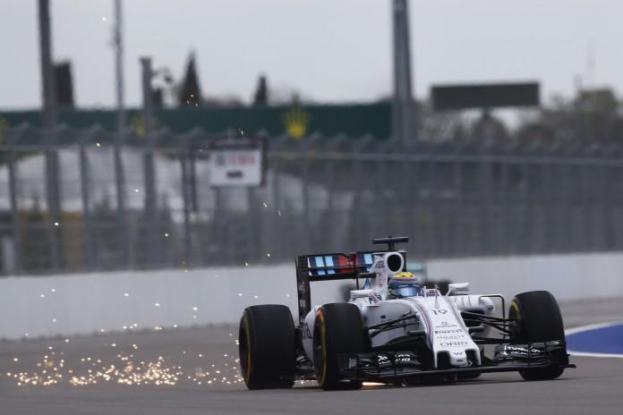 Sochi Autodrom, Sochi, Russia. Friday 9 October 2015. Sparks fly from the car of Felipe Massa, Williams FW37 Mercedes. Photo: Alastair Staley/Williams ref: Digital Image WR6T9506