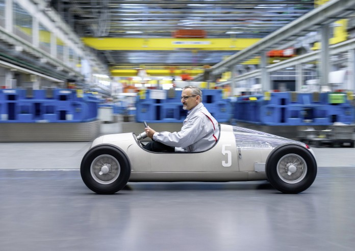 "With a 3D printer, Audi Toolmaking has produced a model of the historical Grand Prix sports car ""Auto Union Typ C"" from the year 1936 on a scale of 1:2. For this purpose, a selective-sintering laser melted layers of metallic powder with a grain size of 15 to 40 thousandths of a millimeter. The process therefore allows the production of components with complex geometries, which with conventional methods could either not be produced or only with great difficulties."