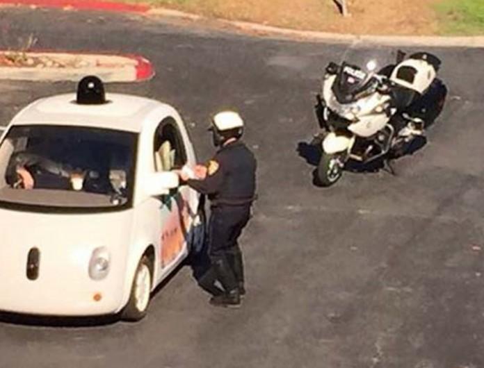 google autonomous car police speed ticket