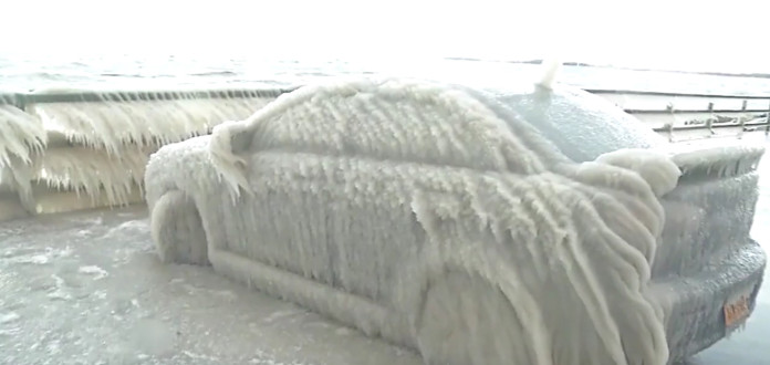 Buffalo blizzard leaves car completely covered in ice