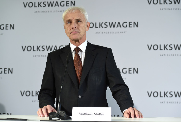 Matthias Mueller, CEO of Volkswagen Group, speaks to the media following a meeting of high-ranking Volkswagen managers on November 20, 2015 in Wolfsburg, Germany. Meanwhile Volkswagen officials are scheduled to meet with officials in the USA to present details on how the company will fix 482,000 Volkswagen vehicles sold in the U.S. affected by the emissions cheating software to comply with U.S. emissions standards. Volkswagen is coming under increasing pressure in the U.S. by officials in Washington and California to buy the faulty diesel cars back.