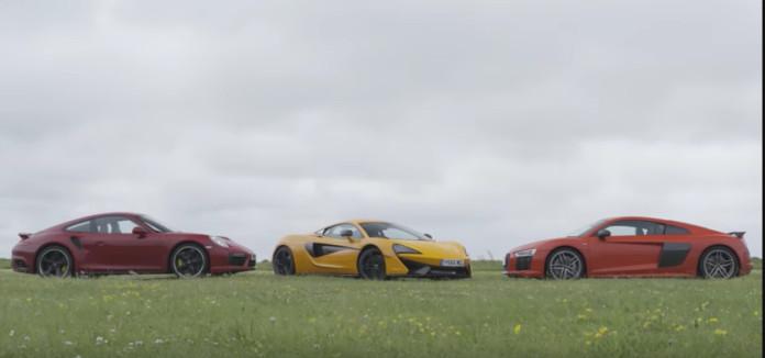 McLaren 570S vs Audi R8 V10 Plus vs Porsche 911 Turbo S sthn pista