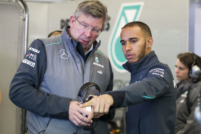 Ross Brawn (GBR),Lewis Hamilton #10# (GBR), Mercedes AMG Petronas F1 Team (GER). First official Formula one testing 2013,Jerez de la Frontera.Test Photo: activepictures/jiri krenek