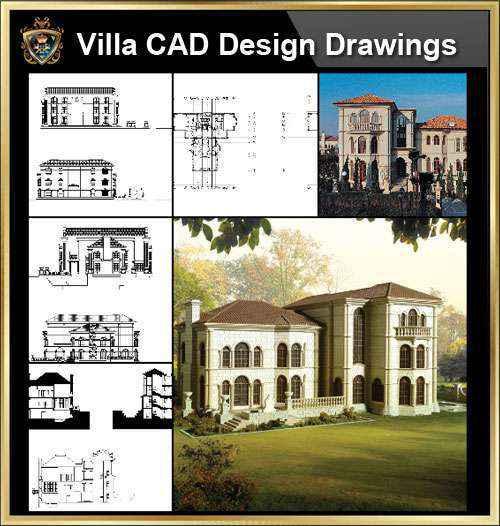 ★【Villa CAD Design,Details Project V.2-Spanish Marbella Style】Chateau,Manor,Mansion,Villa@Autocad Blocks,Drawings,CAD Details,Elevation
