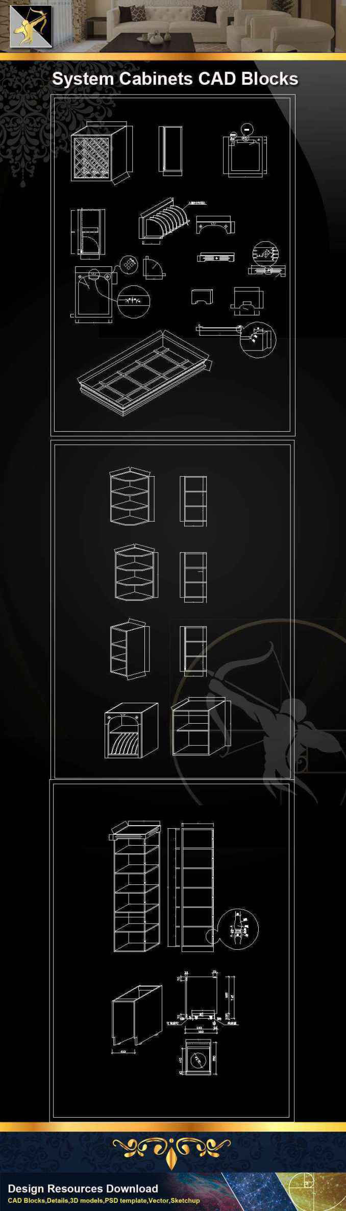 ★【 System Cabinets CAD Drawings V 3】@Autocad Blocks,Drawings,CAD  Details,Elevation