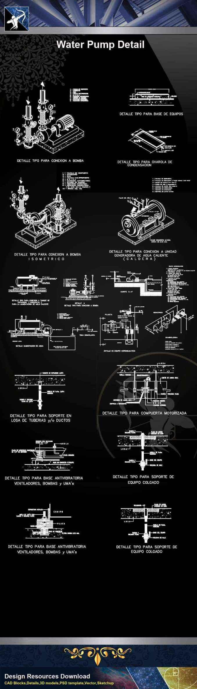 【Architecture CAD Details Collections】Water Pump CAD Details