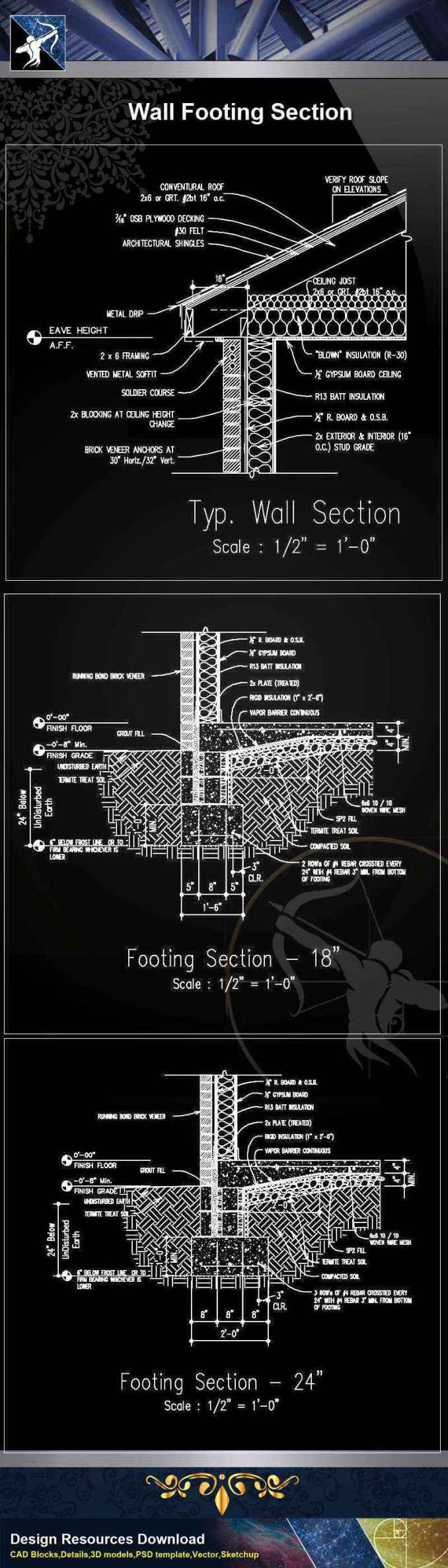 【Architecture CAD Details Collections】Wall Footing Section CAD Details