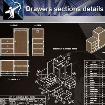【Architecture CAD Details Collections】Drawers sections detail in autocad dwg files