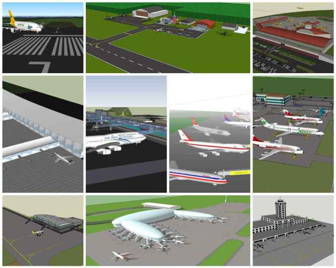 💎【Sketchup Architecture 3D Projects】10 Types of Airport Design Sketchup 3D Models V1