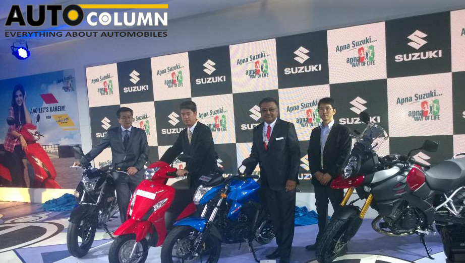 The Suzuki India team with their lineup. Seen in blue is the new made for India Gixxer 155 cc bike