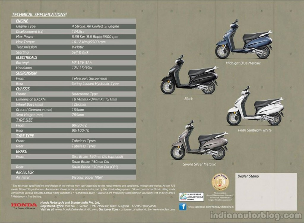 Honda Activa 125cc brochure leaked showing colours and engine specs
