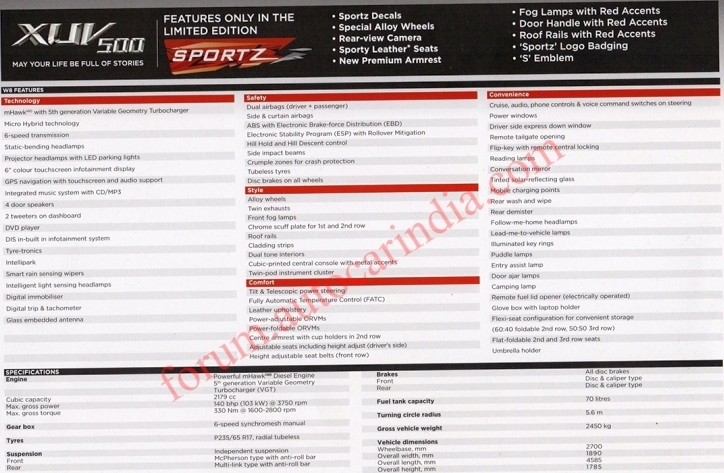 2014 Mahindra XUV 5OO sportz edition brochure scan showing features