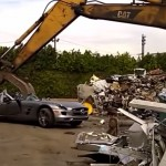 Watch 2.5 Crore SLS AMG being crushed in a scrap yard