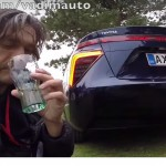 This guy drinks water from the exhaust of Toyota Mirai !!!