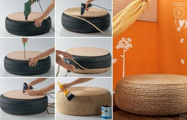 Banco feito de corda e pneu - Móveis baseados em automóveis