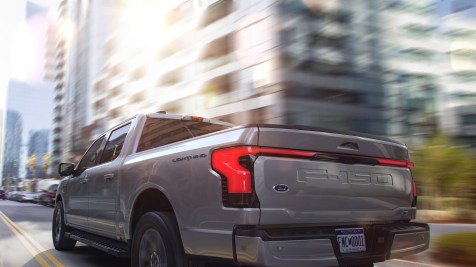 2022 Ford F-150 Lightning Lariat. Pre-production model with available features shown. Available starting spring 2022.