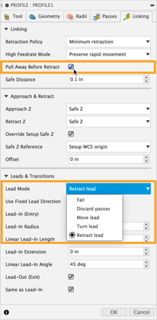 Pull Away Before Retract and Lead Mode options