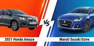 2021 Honda Amaze vs Maruti Suzuki Dzire