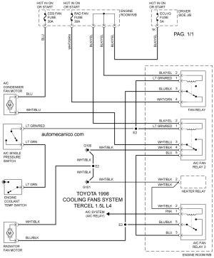 TOYOTA | COOLING FANS SYSTEM | DIAGRAMAS | VENTILADORES, ABANICOS | MOTORES 1998 | MECANICA