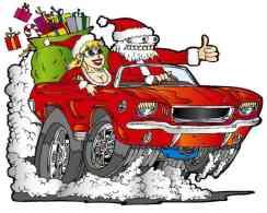 Papai Noel endiabrado com uma Mamãe Noel mocinha cantando pneus de um Mustang conversível, ilustração