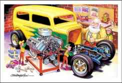 Papai Noel e seus duendes instalando um motor em seu hotrod, ilustração