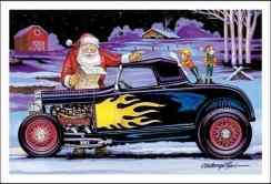 Papai Noel e dois duendes em um hotrod pintado com chamas, ilustração
